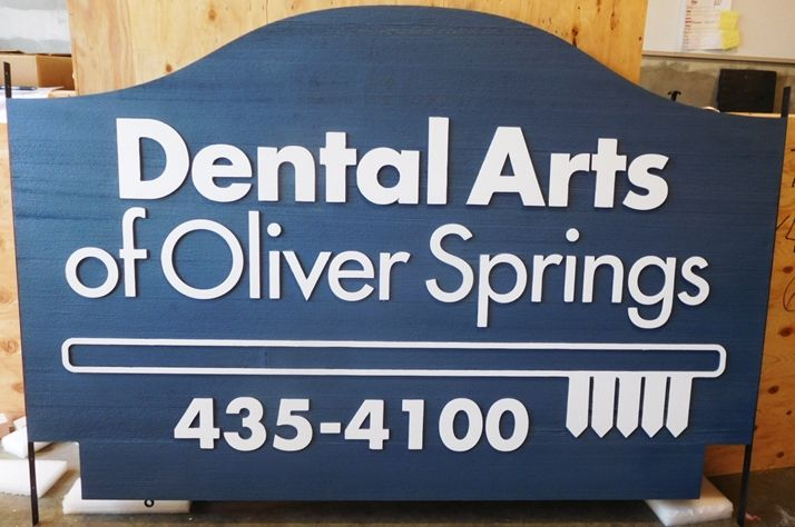 "BA11612 - Carved Sign for the Office of ""Dental Arts of Oliver Springs"", 2.5-D Artist-Painted"