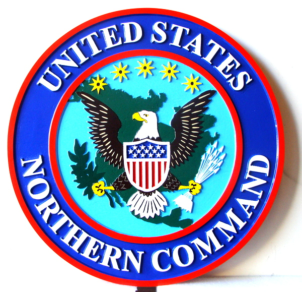 MP-1210 - Carved Plaque of the Seal of the US Army Northern Command , Artist Painted