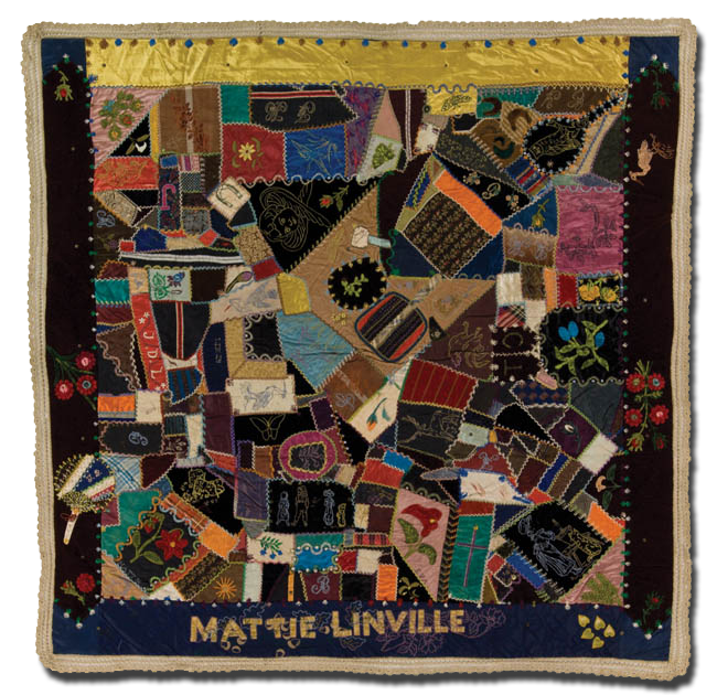 Crazy quilt, probaly made by or for Mattie Linville, possibly made in Ohio, United States, circa 1880-1890, 54 x 55 in, IQSCM 1997.007.0456
