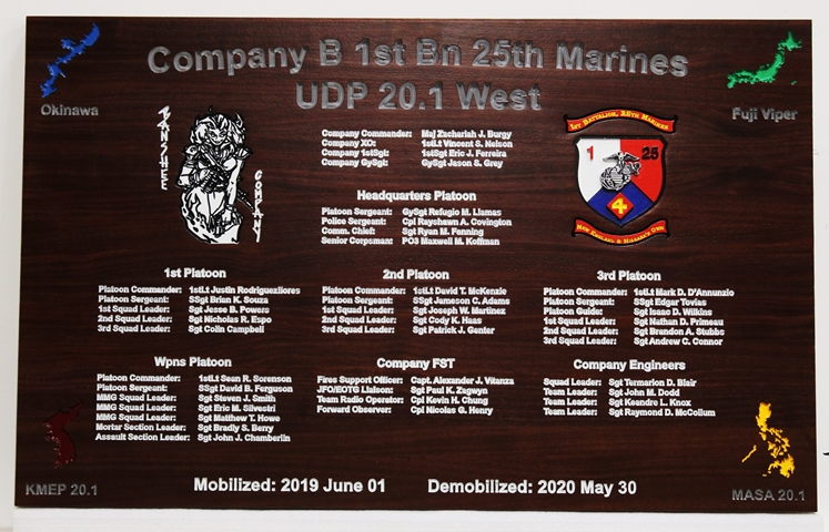 M3964 - Engraved Command Board  for Company B, First Battalion, 25th Marines Carved from African Mahogany  Wood (Gallery 31)