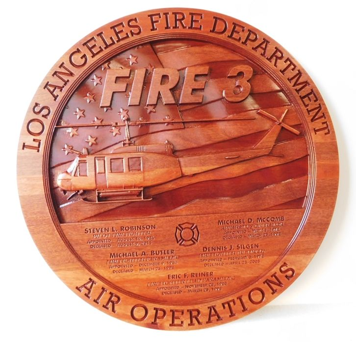 QP-3115 - Carved Memorial Plaque for Firefighters of the Los Angeles Fire Department, 3-D Stained Mahogany