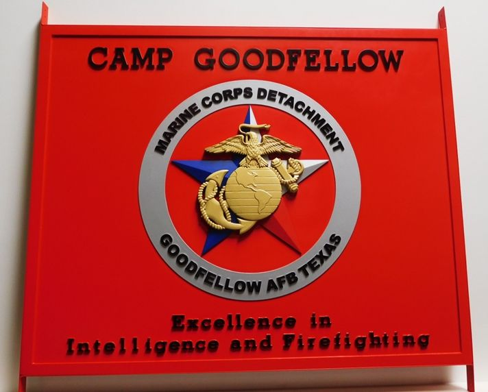 KP-2285 - Carved Plaque of the Emblem for Camp Goodfellow,Marine Corps Detachment, 3D Artist-Painted