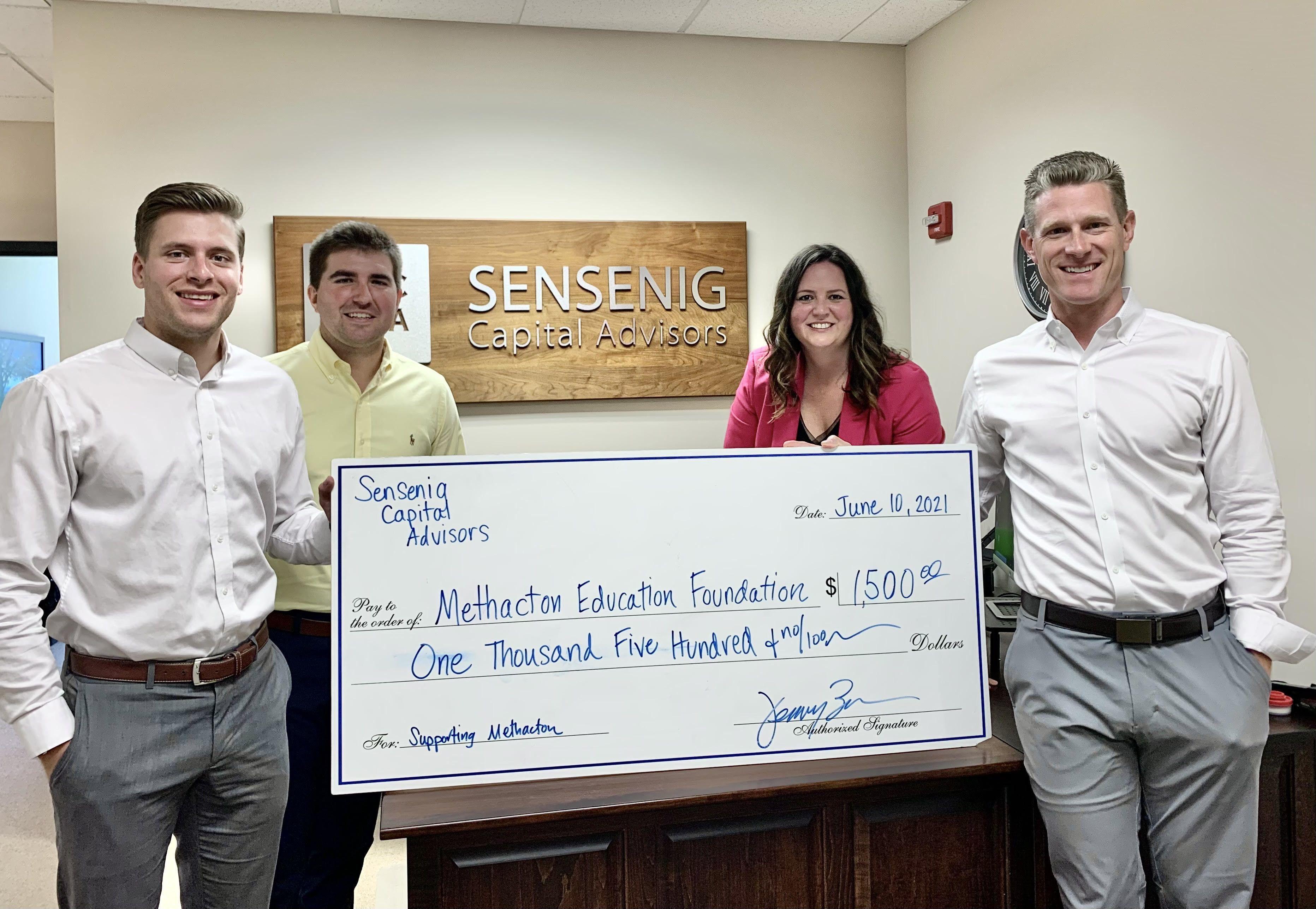 Sensenig Capital Advisors Donates $1,500 to Support Methacton Educational Programs