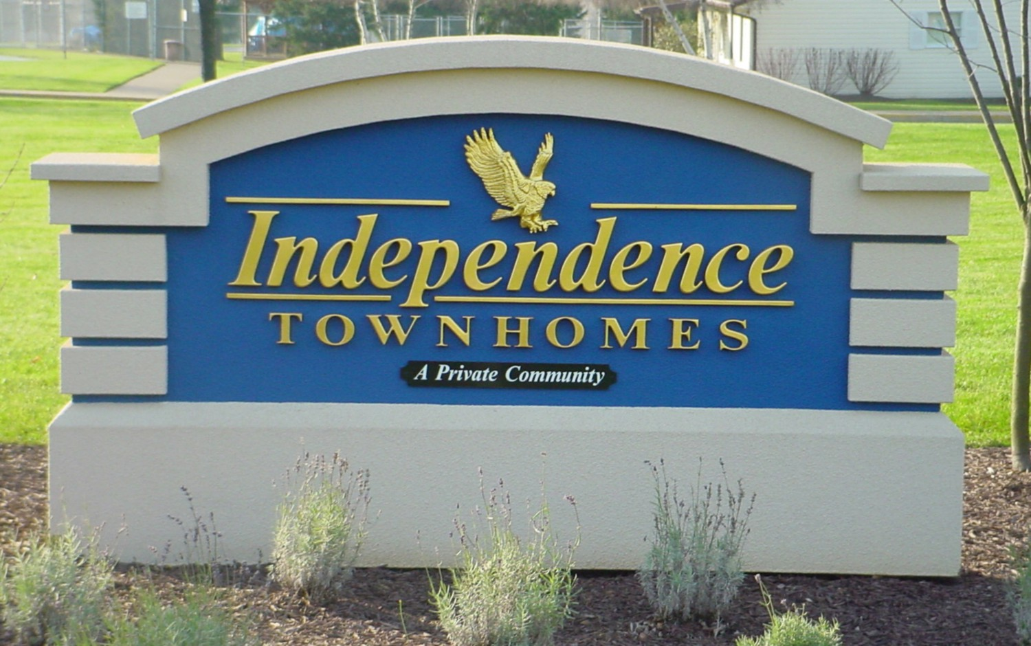 "K20019 - EPS Monument Sign for ""Independence Townhomes"" ""Private Community"" with Eagle,  Block EPS Pillars"