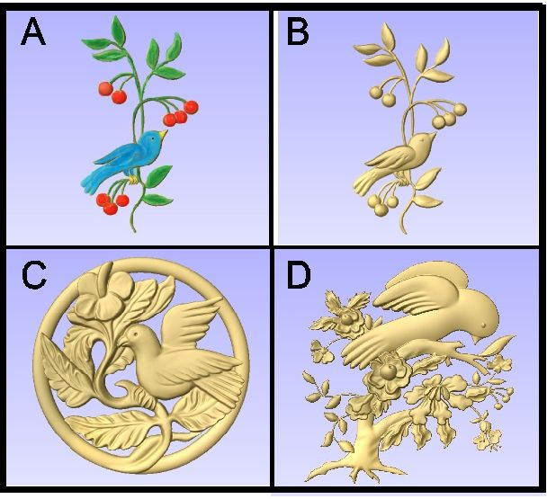 GA16736 - Carved 3-D Bird in Berry Bush, Vine and Tree