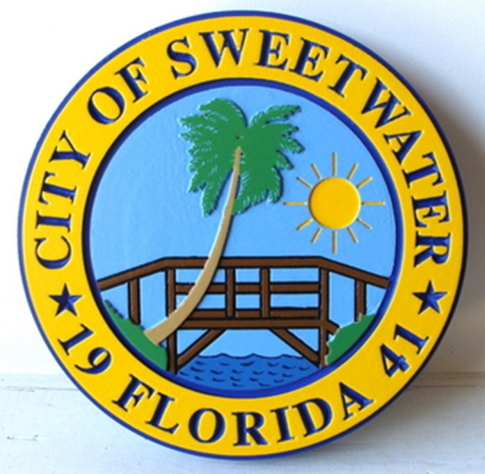 DP-2180 - Carved Plaque of the Seal of the City of Sweetwater, Florida, Artist Painted