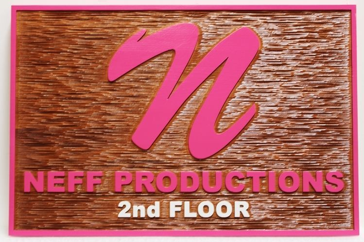SA28584 - Carved 2.5-D HDU Sign  for Neff Productions, with Carved  Wood Grain Background