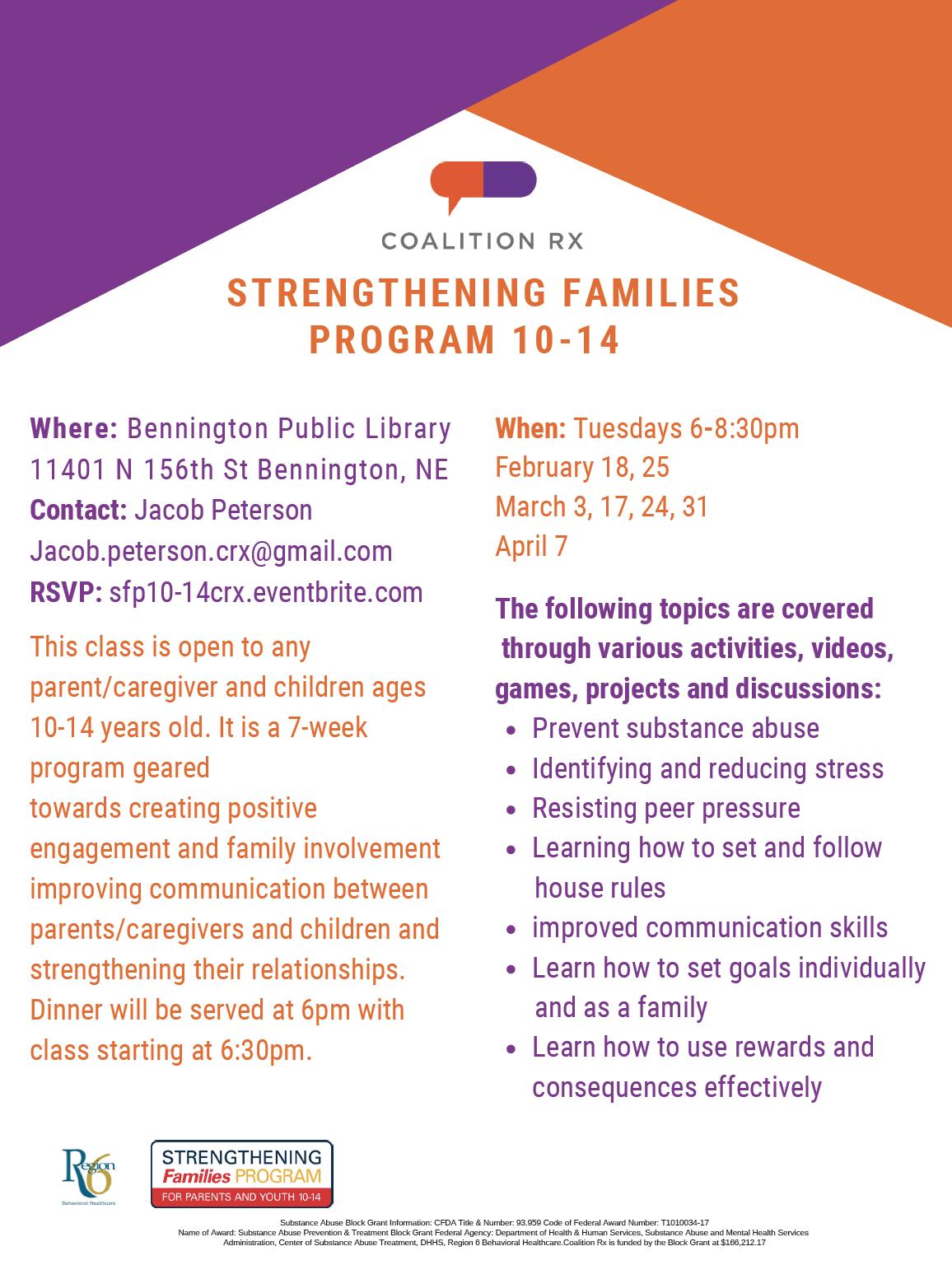 Strengthening Families Program 10-14 hosted by Bennington