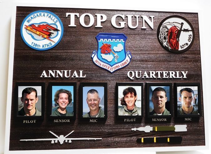 """V31671 - Carved Cedar Wood """"Top Gun"""" Award Board made for the Air Force's 107th OperationsGroup"""