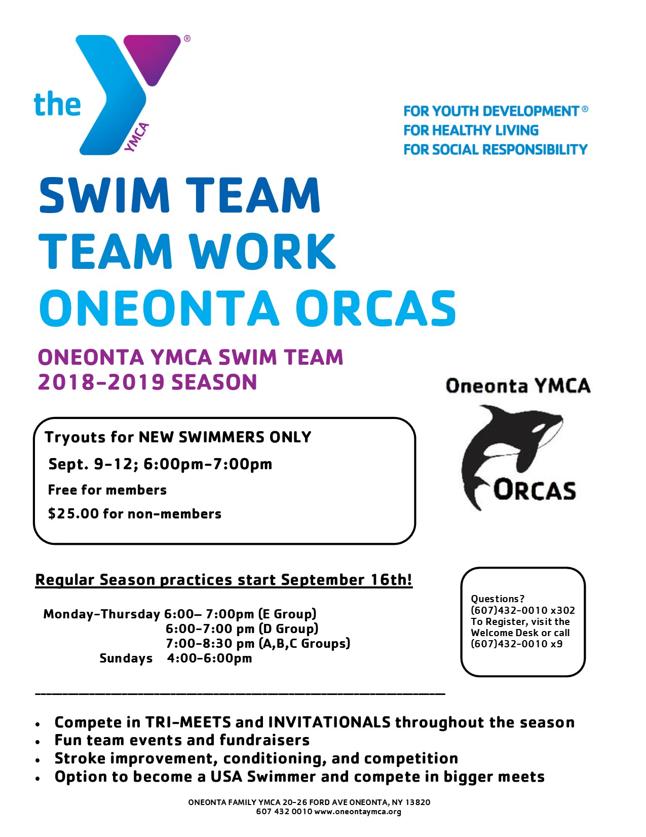Orcas Swim Team At the Oneonta Family YMCA