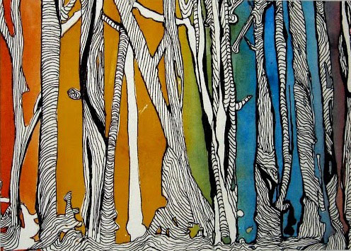 "Trees 1, watercolor and ink, 4-1/2"" x 6-1/2"""""