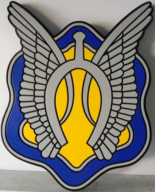 V31794 - Carved 2.5-D Wall Plaque Featuring the Crest of a  US Army Unit (with Wings)