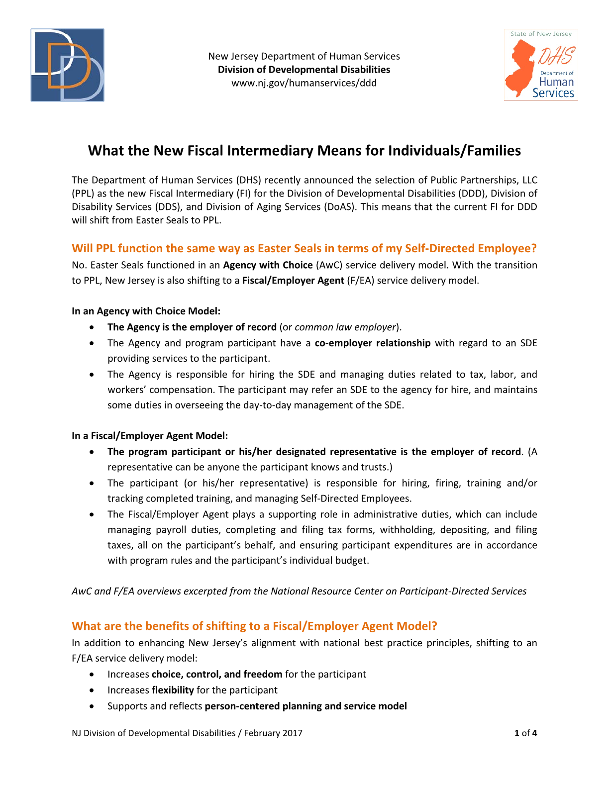 What the New Fiscal Intermediary Means for Individuals/Families (February 2017)