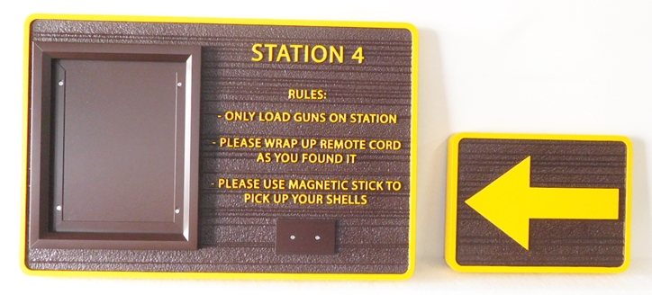 GA16592 - Carved High-Density-Urethane (HDU)  Rule and Directional Signs for  a Gun Range Park