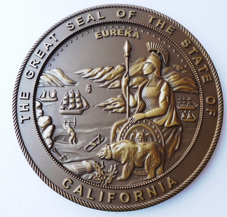 BP-1050 - Carved Plaque of the Seal of the State of California, Metallic Bronze Painted