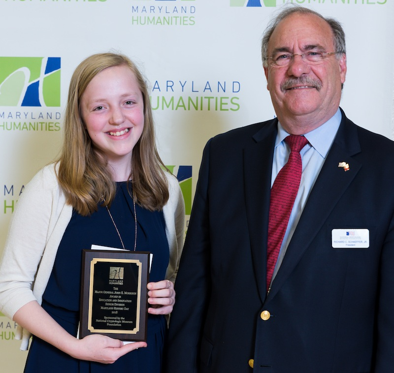 Sierra Burns, 2018 Senior Division Winner with NCMF President Dick Schaeffer
