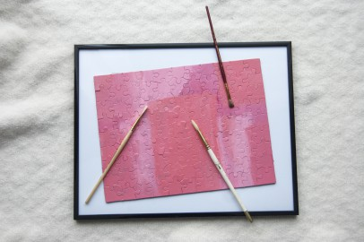 Goodwill DIY Valentine's Day idea: painted custom puzzle