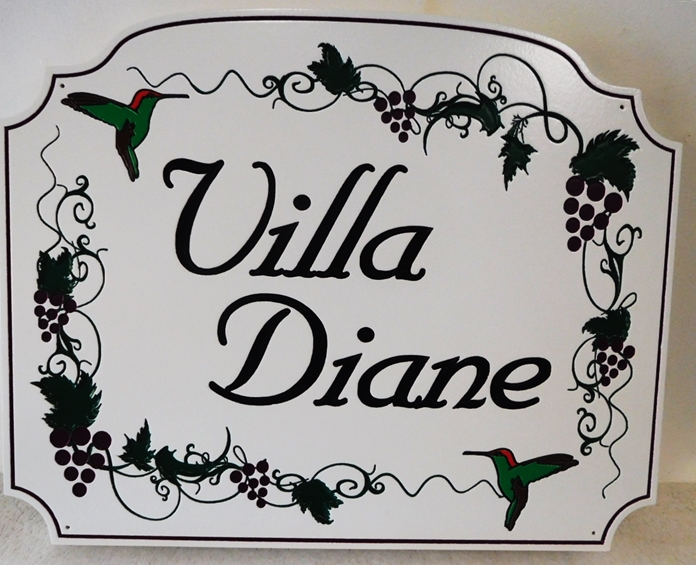 "I18509 - Engraved High-Density-Urethane (HDU)  Property Name  Sign made for a Residence., ""Villa Diane""., with Hummingbirds and Grapevines as Artwork"