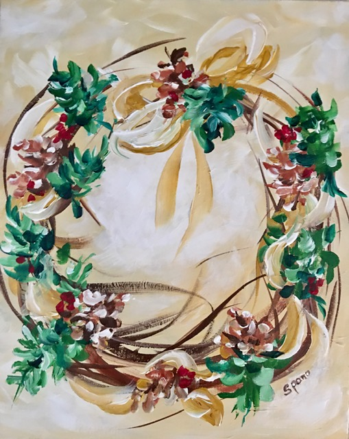 Canvas & Cocktails: Holiday Wreath