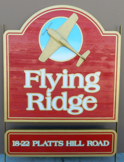 S28082 - Painted Cedar Sign for Flying School, with 3-D Airplane Logo