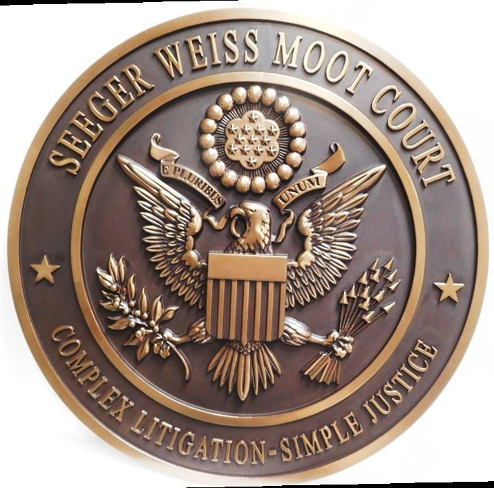 Y34328 - Carved 3-D HDU Plaque of the Seal of the Seeger Weiss Moot Court , with the US Great Seal as Artwork