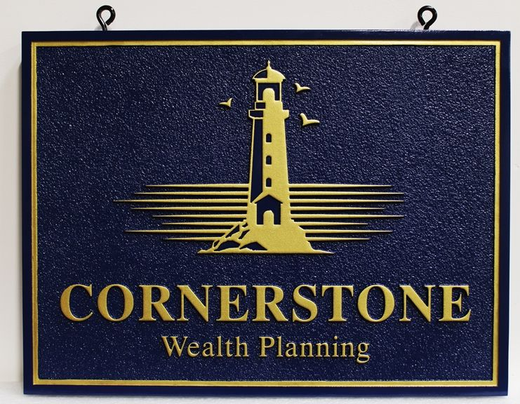 C12042 - Carved High-Density-Urethane (HDU) Entrance Sign for Cornerstone Financial Planning, 2.5-D