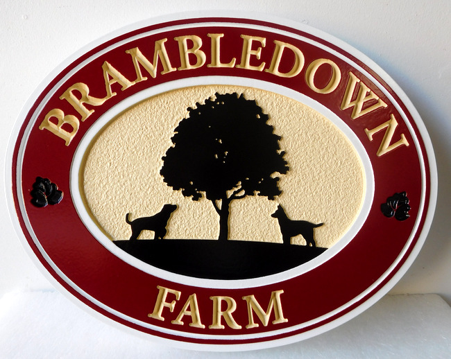 GC732 - Carved 2.5-D  Hand-painted Sign for the Brambledown Farm, with Tree and Two Dogs in Profile - $185