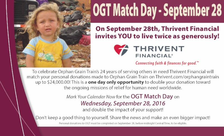 OGT Match Day is September 28, 2016