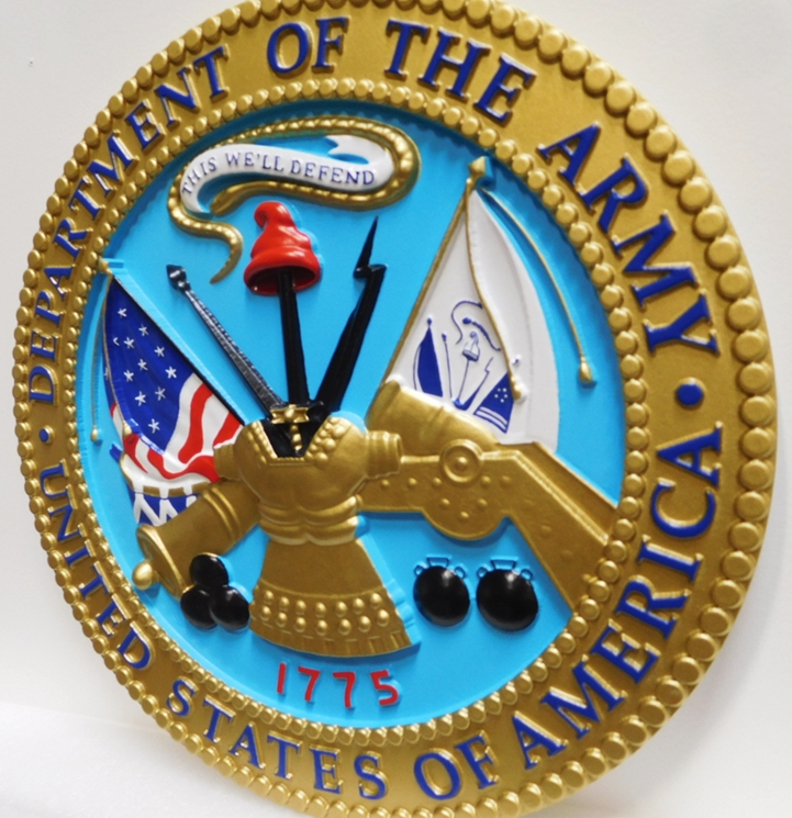 MP-1030 -  Side View of a Plaque of the Great Seal of the US Army (USA), 3-D Artist Painted
