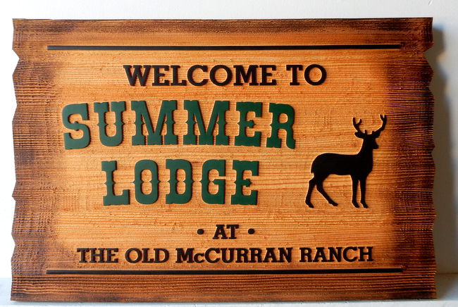 M22640 - Burned Edge Rustic Cedar Sign for Welcome to Summer Lodge at Old McCurran Ranch