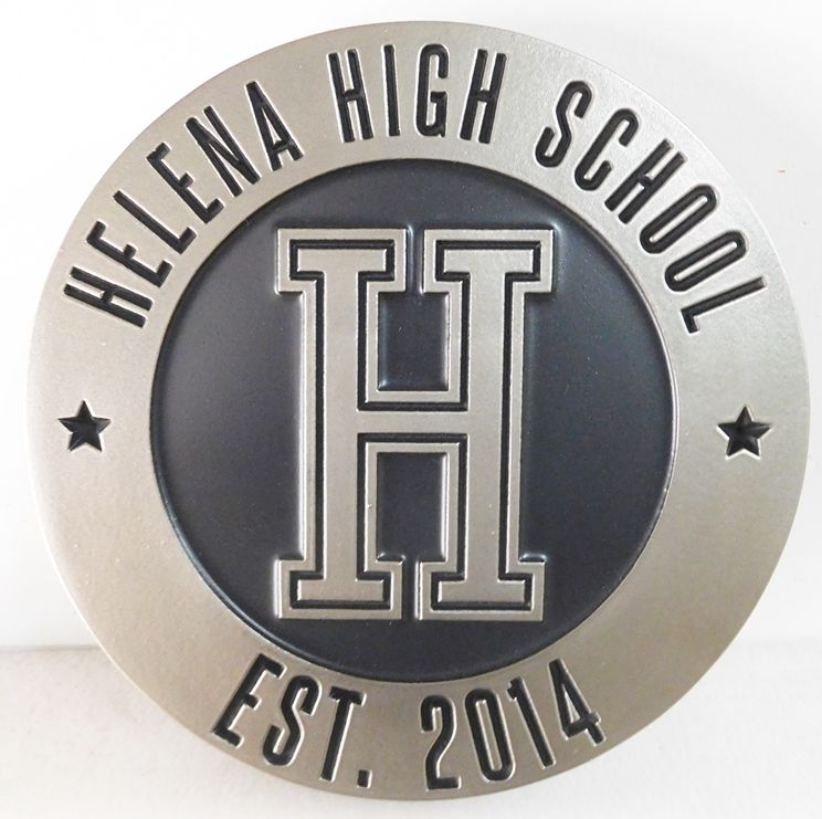 Y34702 - Carved Round Wall Plaque of the Seal of the Helena High School, Polished Aluminum-Coated