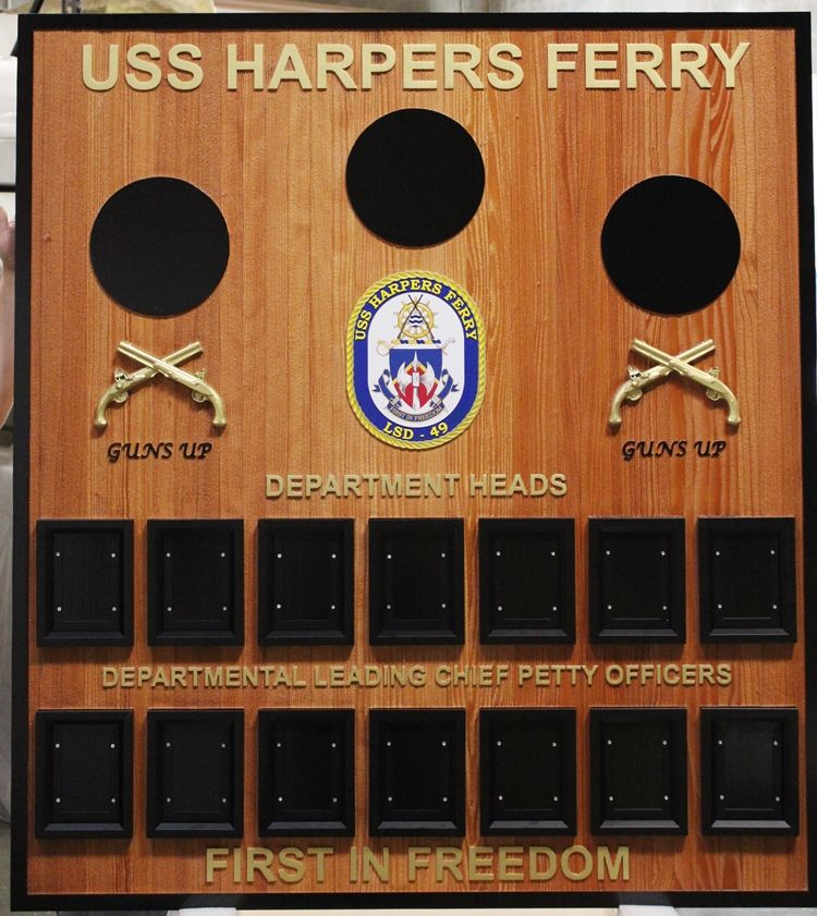 JP-1327 - Carved Redwood Command Board for the USS Harpers Ferry, LSD-49, with Replaceable Photos and Ships Seal