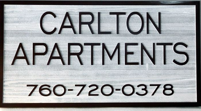 K20212 - Carved Entrance Sign for Carleton Apartments, with Wood Grain Sandblasted Background