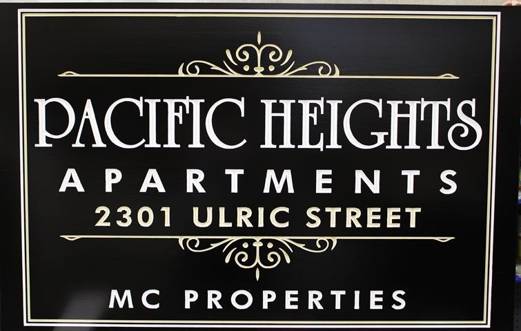 K20409 - Carved High-Density-Urethane (HDU)  Entrance Sign for the Pacific Heights Apartments