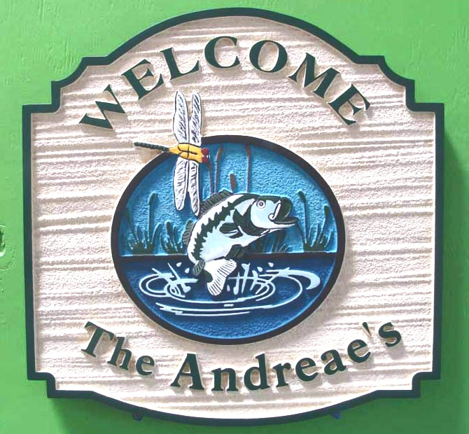 AG118 - Carved and Sandblasted Welcome and Property Name Sign for a Lake House, with Leaping Trout and Dragonfly - $270