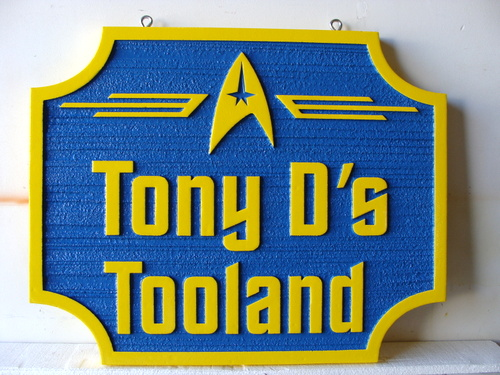 "SA28485 - Carved 2.5-D and Sandblasted HDU Sign for  ""Tony D's Tooland"" Tool Store with Logo"