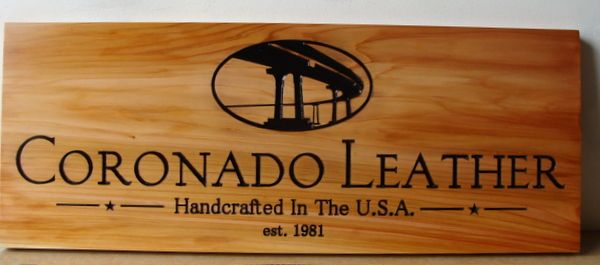 SA28034 - Cedar Wood Sign for Leather Goods Manufacturer and Store Showing Coronado Bridge in California