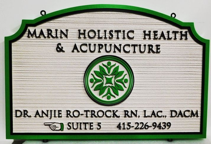 """B11258 - Carved and Sandblasted Wood Grain HDU Sign for """"The Marin Holistic Health and Acapuncture"""" Clinic, 2.5-D Artist Painted"""