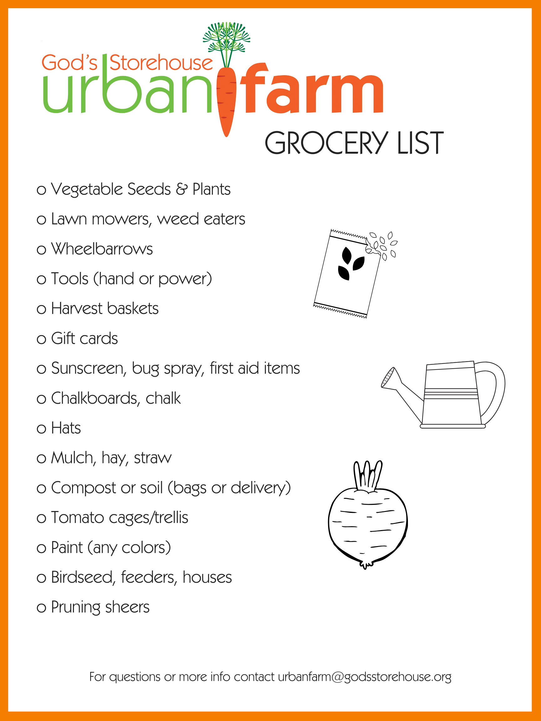 Urban Farm Grocery List