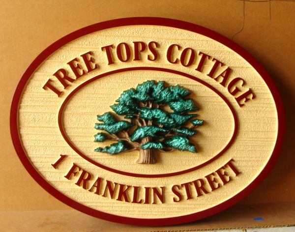 "M22109 - Carved and Sandblasted HDU Address Sign ""Tree Tops Cottage"" with Carved 3-D Tree"
