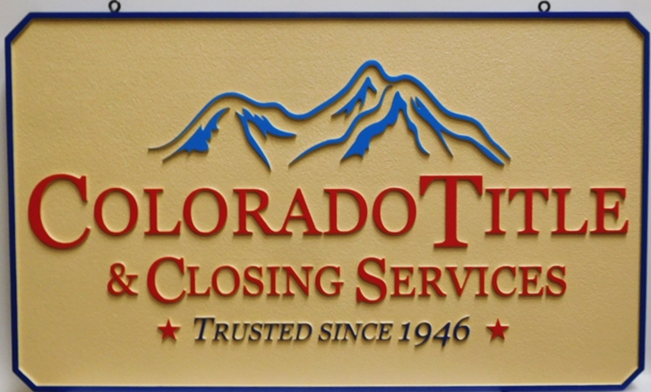 C12342 - Carved Hanging Sign for the Colorado Title & Closing Services Firm.2.5-D Artist-Painted