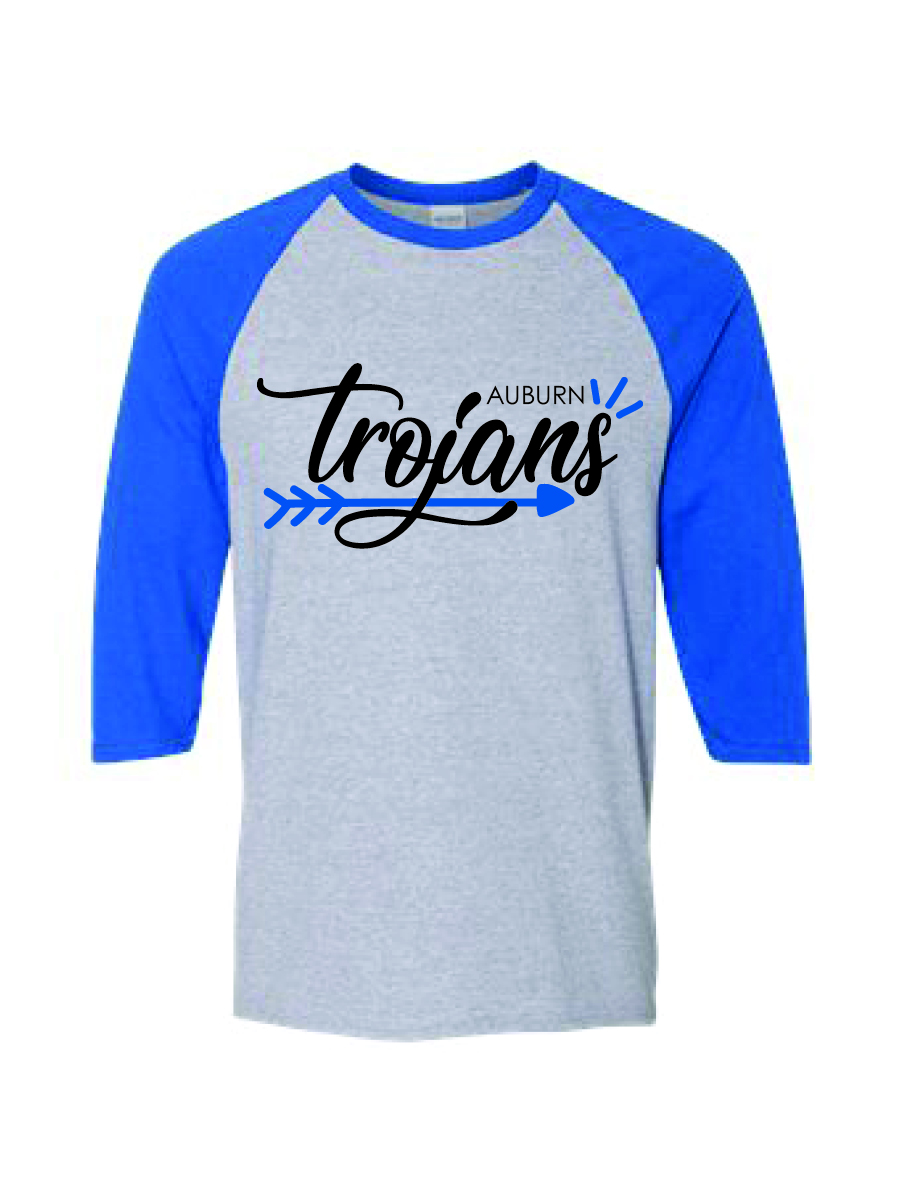 Ladies'  Jersey Three-Quarter Sleeve T-Shirt (Gray with blue sleeves)