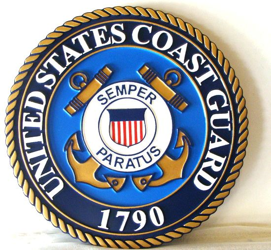 NP-1120- Carved Plaque  of the Great Seal of the US Coast Guard, 2.5-D Artist Painted