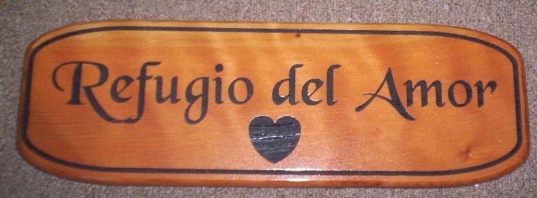 "N23056 Custom Engraved Wall Plaque ""Refugio del Amor"" (Refuge of Love) , with Heart Symbol"