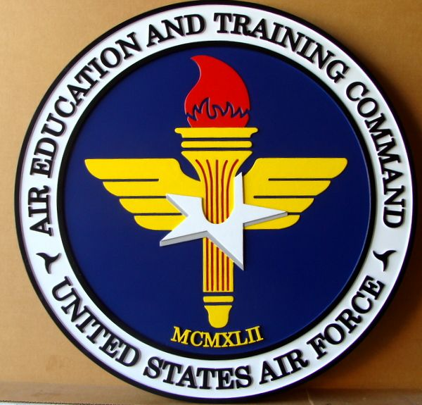 V31543 – Carved 3D Wall Plaque of the Seal of the US Air Force Air Education and Training Command