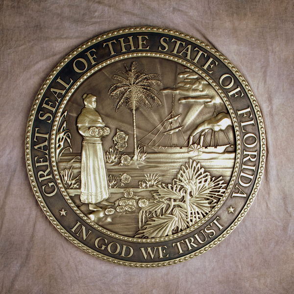 M7126- Brass  (Hi Polish)  Wall Plaque for State of Florida Great Seal