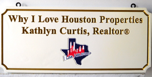 C12338-  Engraved HDU Hanging Sign for Houston Properties, with Recessed Art of Texas Logo