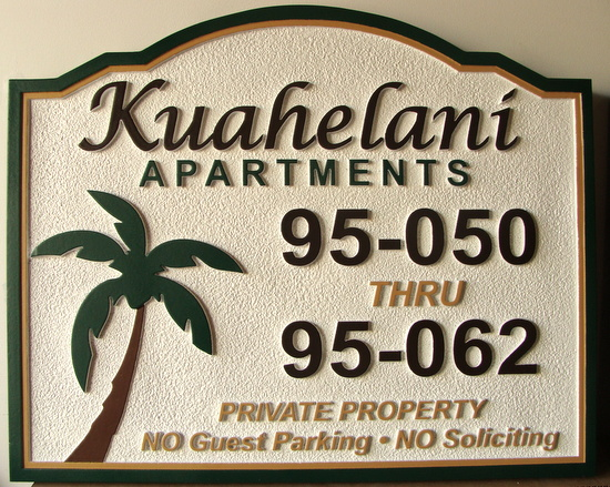 K20158 - Carved and Sandblasted HDU Apartment Sign, with Palm Tree