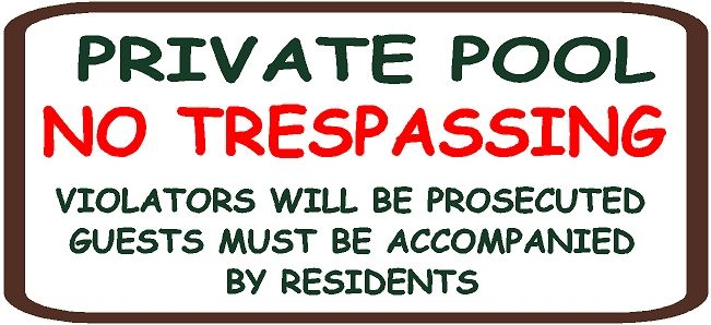 """GB16390 - Carved  HDU Sign For """"Private Pool No Trespassing"""""""