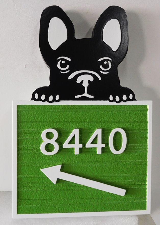 I18607 - Carved High-Density-Urethane (HDU)  Address Number Sign, with Cute Dog Peering Over Address Plaque